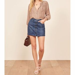 NWT Reformation Alison Denim Mini Button Up Skirt
